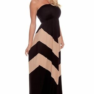 Finesse S Black & Tan Chevron Maxi Dress